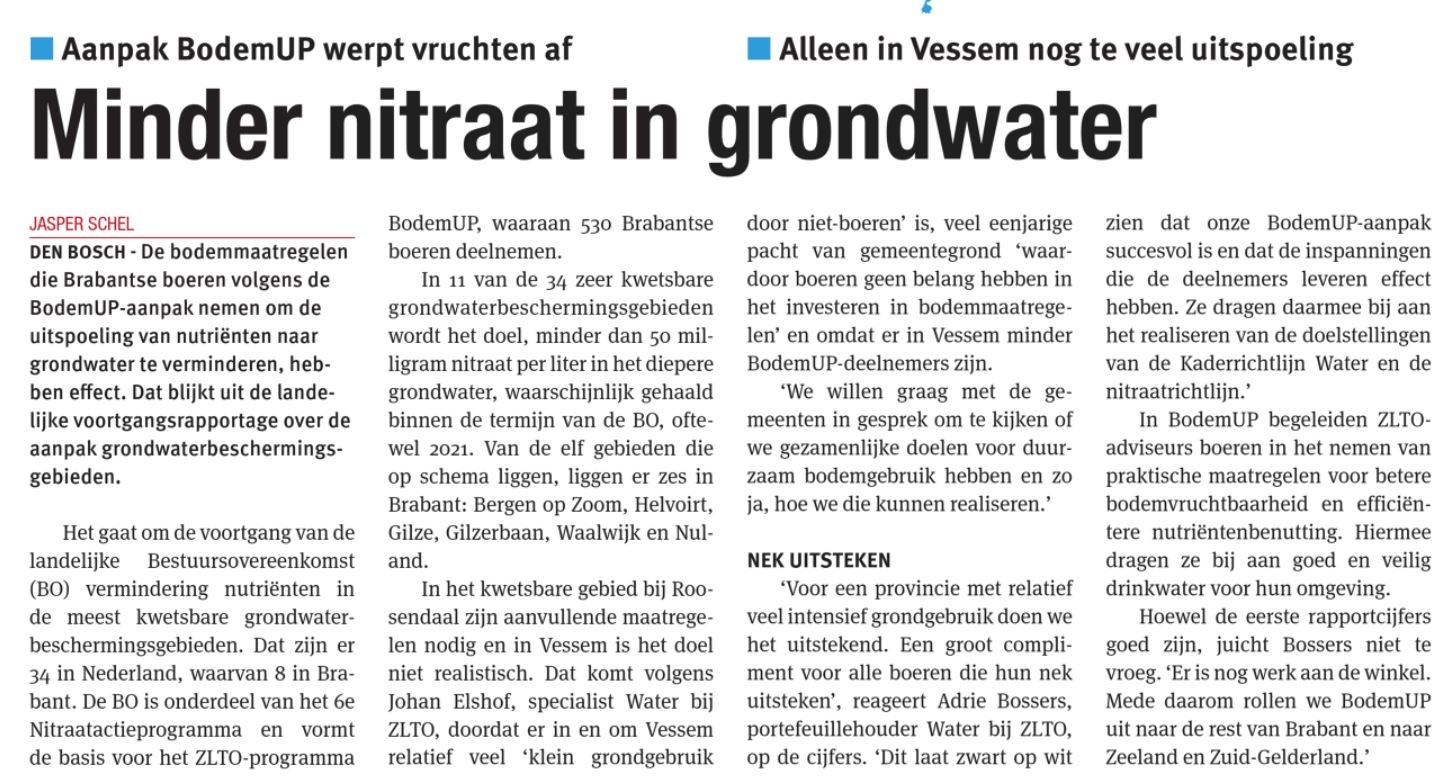 Artikel NO - Minder Nitraat in grondwater